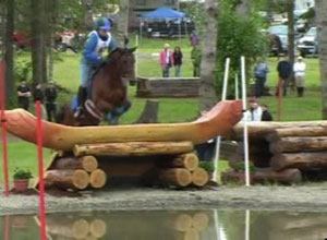 horse jumping over a water jump