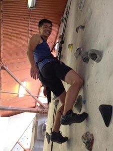 Andre rock climbing
