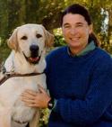 Michele with a guide dog